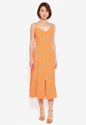 WAREHOUSE orange Stripe Button Through Dress 3DA99AAAD7822CGS_1
