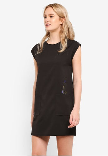 Something Borrowed black Embroidered Patch Pocket Shift Dress DB4D9AAF9D9882GS_1