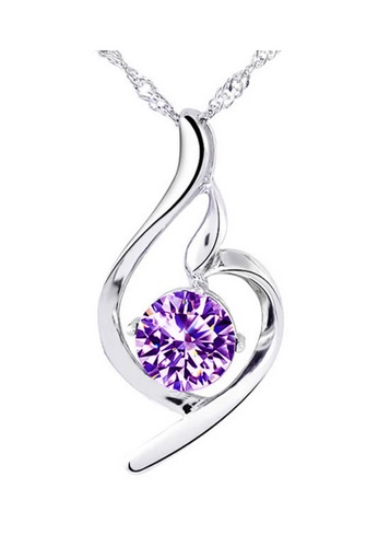 YOUNIQ silver YOUNIQ Wave 925 Sterling Silver Necklace Pendant with Purple Cubic Zirconia YO999AC19DDGMY_1