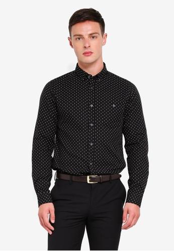 Burton Menswear London 黑色 Black Micro Geometric Long Sleeve Oxford Shirt 9C294AA04FADAFGS_1