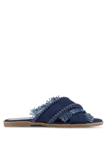 Something Borrowed navy Fringed Slide Sandals 297BDSH4C38BB6GS_1