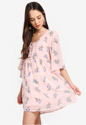 Something Borrowed pink Front Tie Chiffon Swing Dress 150BFAADFF6BA4GS_1