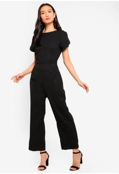 7f9932fb074b ZALORA black Petal Sleeves Jumpsuit 771D7AA6E6AF49GS 1