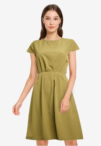 ZALORA WORK green Pleated Detail Short Sleeve Dress 58870AA4F9BC5FGS_1