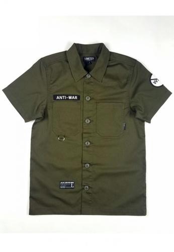 L.I.M.I.T.E green Emb Patch with Print Twill Shirt LI425AA0FCJUSG_1
