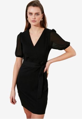 Trendyol black Tie Waist Puff Sleeve Dress B1925AA655BF23GS_1