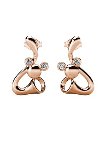Her Jewellery gold Trumpet Mice Earrings (Rose Gold) - Made with Premium grade crystals from Austria EBAFAACA042ADBGS_1