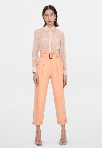 Pomelo orange Tortoise Buckle Cigarette Pants - Peach 46DE4AA0A28514GS_1