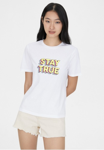 Pomelo white Sustainable Stay True Graphic Tee - White 54CB0AAC0FE147GS_1