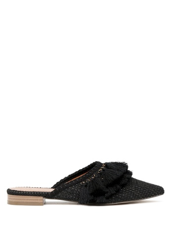 London Rag black Mavis Tassel detail Flat Mules 4BA60SHC1FB77CGS_1