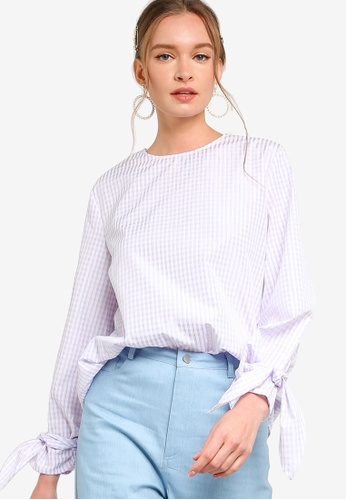 Lubna purple Sleeves Tied Knot Blouse A136AAA4678183GS_1