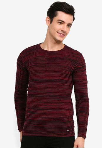 !Solid red Struan Melange Knit Sweater 767DBAA28C6D97GS_1