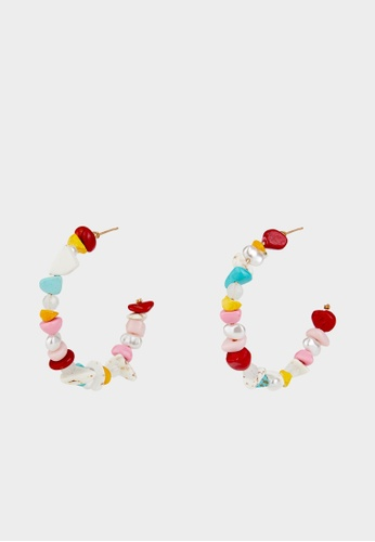Pomelo multi Mixed Beads Open Hoop Earrings - Multi Color F1A96AC991BD81GS_1