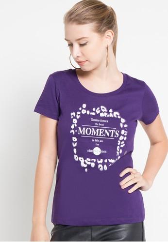 Bossini purple S/Slv R/Nk Print Tee(Bl:24) BO894AA69SKCID_1