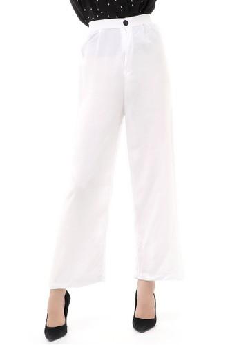 Hamlin white Jourel Celana Panjang Kasual Kulot Highwaist Wanita Style Kancing Resleting Material Rayon ORIGINAL - White 8924DAABAE7C07GS_1