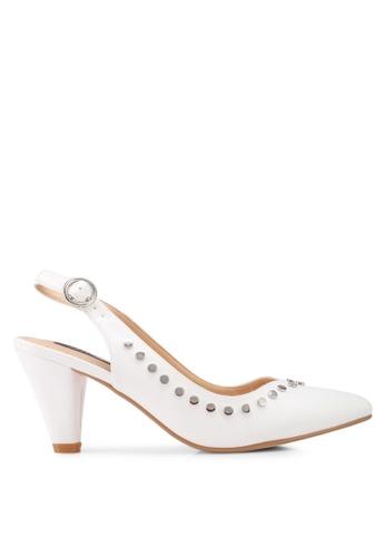 ZALORA white Side Studded Heels ADEF1SH0D64435GS_1
