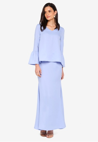 Lubna blue Bell Sleeves Flared Back Skirt 88F7CAA39E2303GS_1