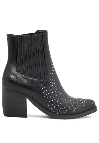 London Rag 黑色 钉钉装饰印刷层皮跟踝靴 SH1787 ACFE4SHEE2D6B7GS_1
