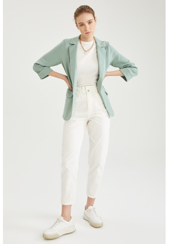 DeFacto green Gathered Sleeve Fitted Blazer A3BC0AADD8703DGS_1