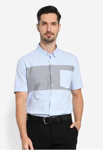 G2000 blue Colour Block Short Sleeve Shirt C16A9AA3AED6B3GS_1