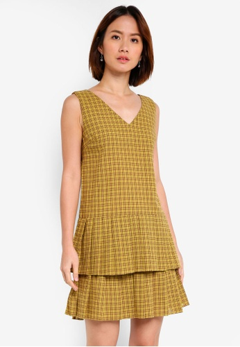 NAIN yellow Checkered Double Pleats Pinafore Dress BEF19AA2FC6B32GS_1