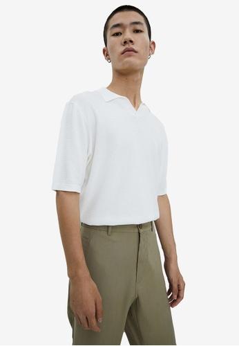 URBAN REVIVO white Knit Polo Shirt 1CC6EAA841A60AGS_1