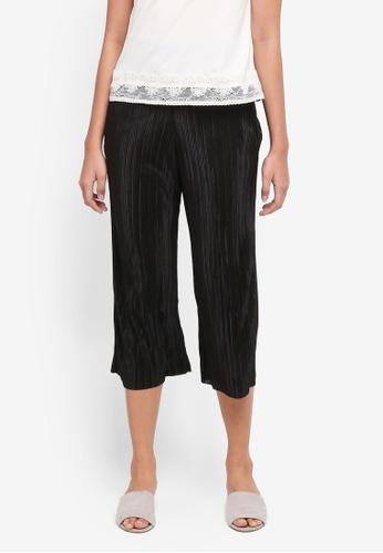 TOPSHOP 黑色 Petite Shiny Plisse Crop Trousers 61355AAC28D529GS_1