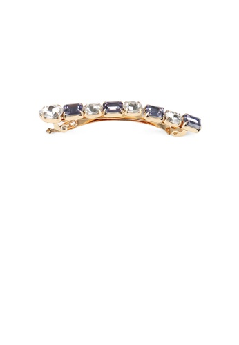 Glamorousky silver Fashion and Simple Plated Gold Geometric Hair Clip with Grey Cubic Zirconia 2BF5EAC94BC16EGS_1