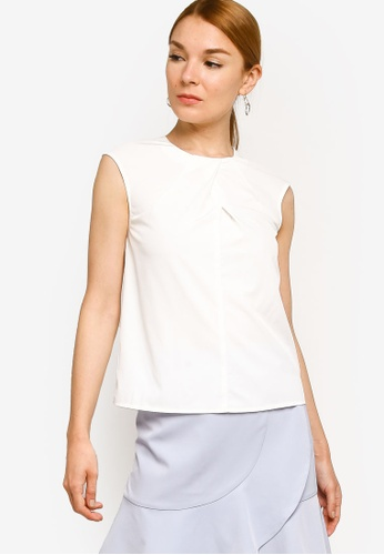 ZALORA WORK white Pleat Detail Top 2DA8CAA8B0C2D1GS_1
