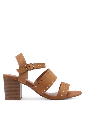 Dorothy Perkins brown Tan Star Studded Sandals B7F74SH8447925GS_1