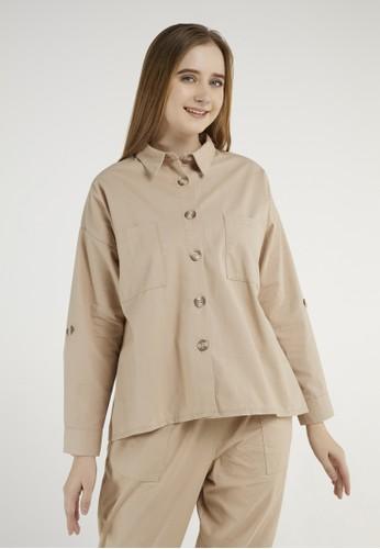 ULTRAVIOLET beige Bee Oversized Shirt 572 Beige B548FAAB1B5005GS_1