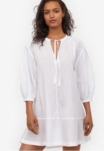 H&M white Cotton tunic 869BAAA8BDFA0DGS_1