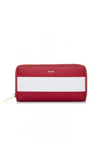 BONIA Red The Line Zipper Wallet BO710AC0U3UMID_1