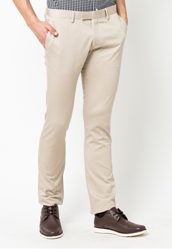 The Executive beige Skinny Cotton Pants 85552AACBFA051GS_1