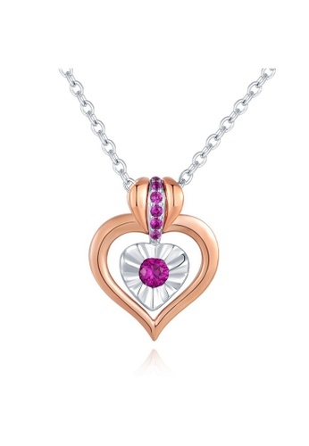 MBLife silver 925 Sterling Silver Pink CZ Heart Double Side 2 Way Necklace 22AECACF9F1719GS_1