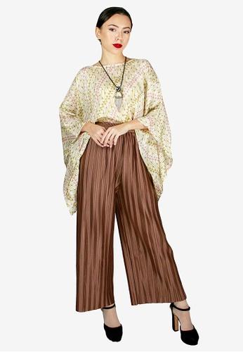 PANGOI brown PANGOI Handmade Batik Kaftan with Cotton Crepe Modern Pants Set F180DAA9634C0FGS_1
