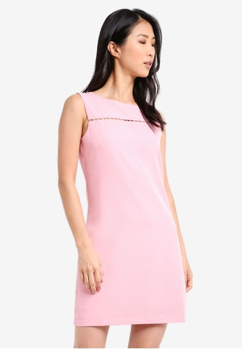 ZALORA pink Front Trim Pencil Dress 76F58AACCDD45CGS_1