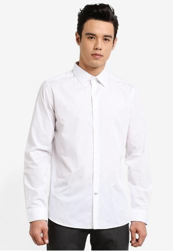 Burton Menswear London white White Slim Fit Easy Iron Shirt BU964AA47JTCMY_1