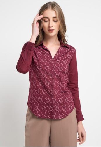 POP U red Rectangular Kawung Long Sleeve Shirt D1D32AA0C36762GS_1