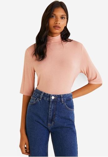 Mango pink High Neck T-Shirt 6295BAA58EC428GS_1