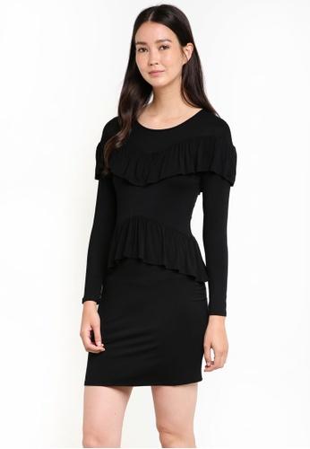 ZALORA black Ruffle Front Jersey Dress 94D80AA74DA3FDGS_1