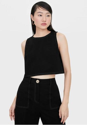 Pomelo black Side Button Sleeveless Crop Top - Black 6746BAA1E577E9GS_1