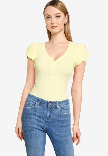 GUESS yellow Short Sleeve Jabin Bodysuit 5433BAA656528DGS_1