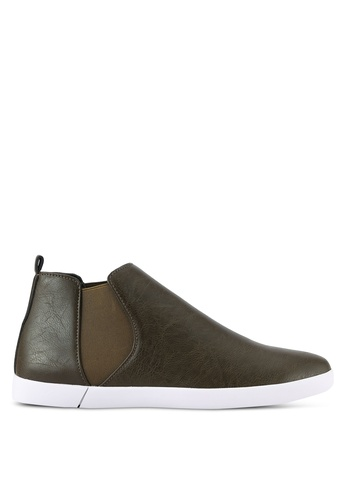 ZALORA green Casual Faux Leather Chelsea Boots 75D1ESH5DD162EGS_1
