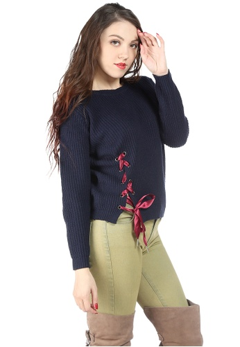 London Rag navy Navy Long Sleeve Knit Sweater with Eyelet and Draw String 2EFDDAA687C0F9GS_1