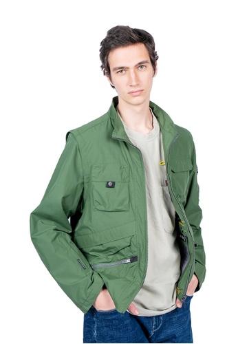 East Pole green Men's 17 Pockets Detachable Sleeves Travel Windbreaker B9CC3AAA0DE567GS_1