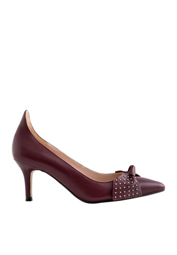 eq:iq red eqEBONY Kidskin Pointed-toe High Heels with Studded Bow EQ351SH0FBFMSG_1