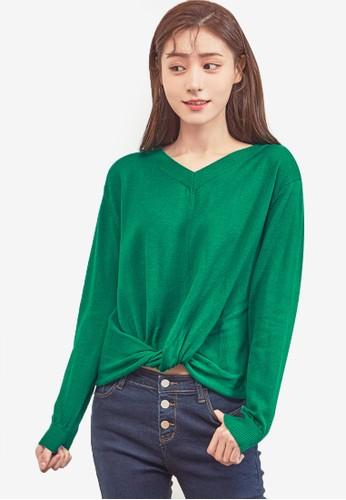 NAIN green Twist Knit Top B8763AAEDE21D5GS_1