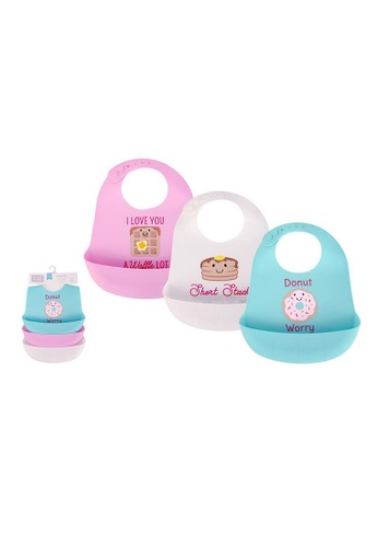 Little Kooma white and pink and blue Baby Silicone Bibs 3 Piece Pack 56279 - 1116 BD457KC15F985DGS_1