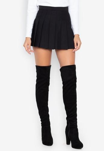 Chase Fashion black Plain Pleated Skirt C0C58AAD02AA8FGS_1